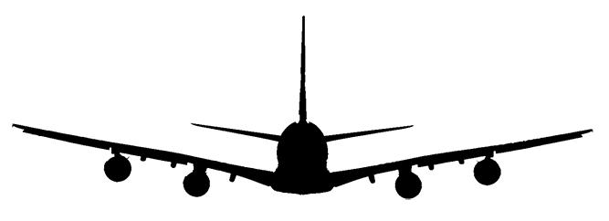 vliegtuig volgen boeing a380-silhouet